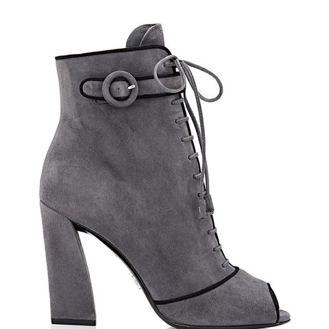 Piped Lace-Up Ankle Boots