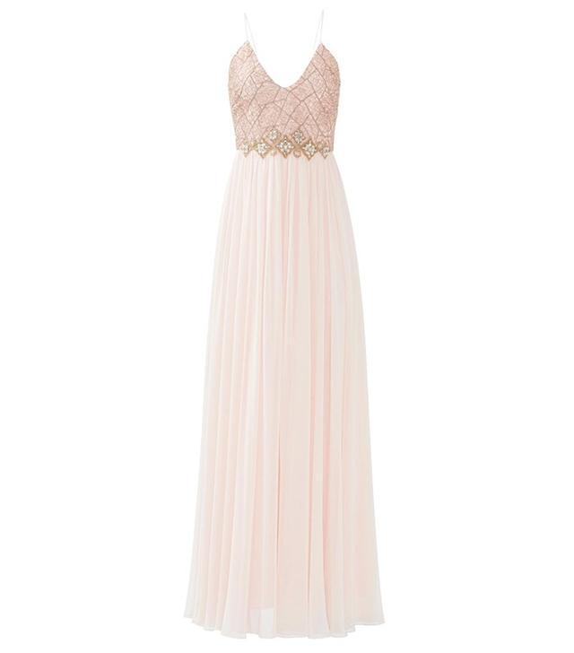 Badgley Mischka Web Lace Silk Runway Evening Gown