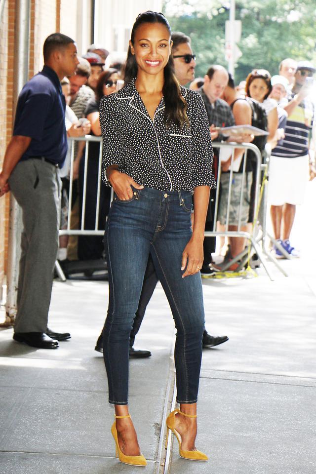 On Zoe Saldana: Dolce & Gabbana Pussy-Bow Polka-Dot Blouse ($1395); Jimmy Choo Lucy Heels ($695). Similar Style: J Brand Alana Cropped High-Rise Skinny Jeans ($230).