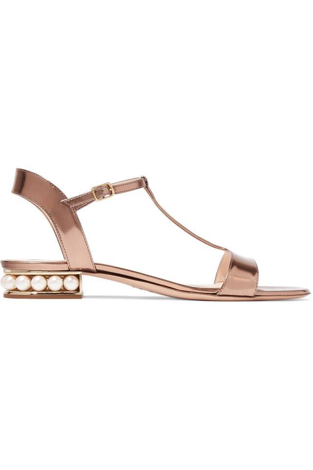 Nicholas Kirkwood Casati Embellished Metallic Patent-Leather Sandals