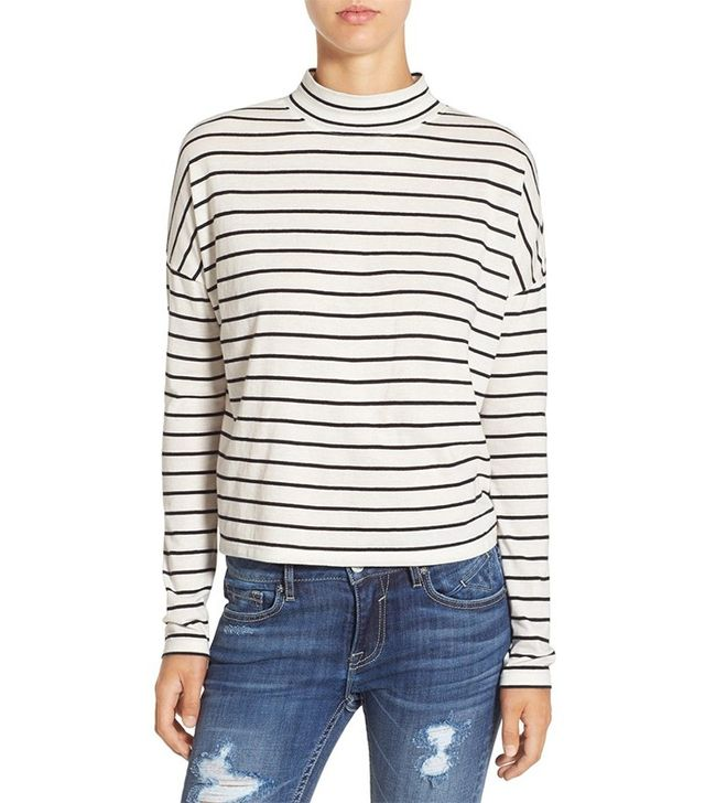 BP. Stripe Long Sleeve Mock Neck Tee