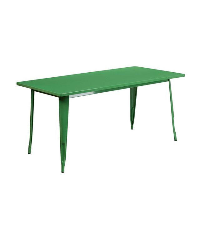 Flash Furniture Rectangular Green Metal Indoor Table