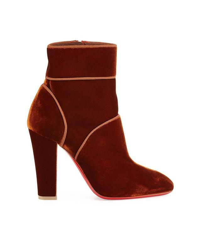 Christian Louboutin Velvet Red Sole Ankle Boot