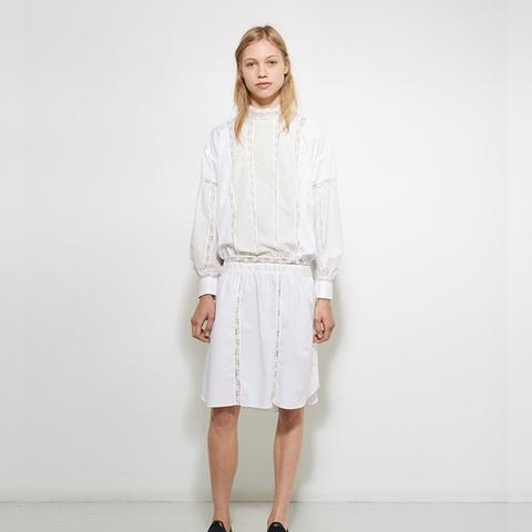 Lace-Trimmed Poplin Dress