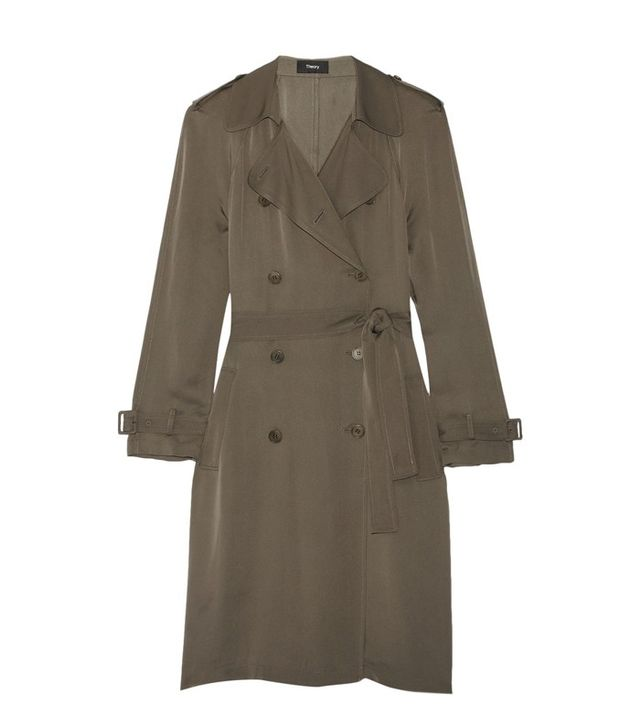 Theory Laurelwood Silk Crepe de Chine Trench Coat