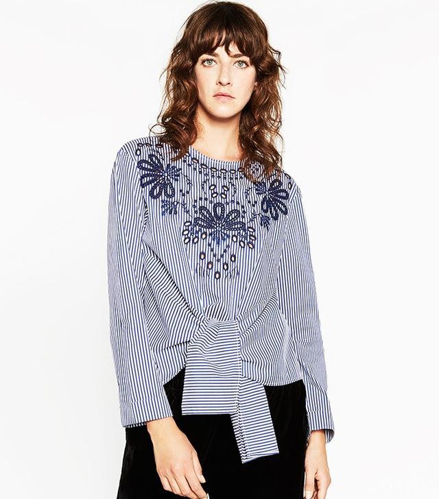 Zara Striped Poplin Top