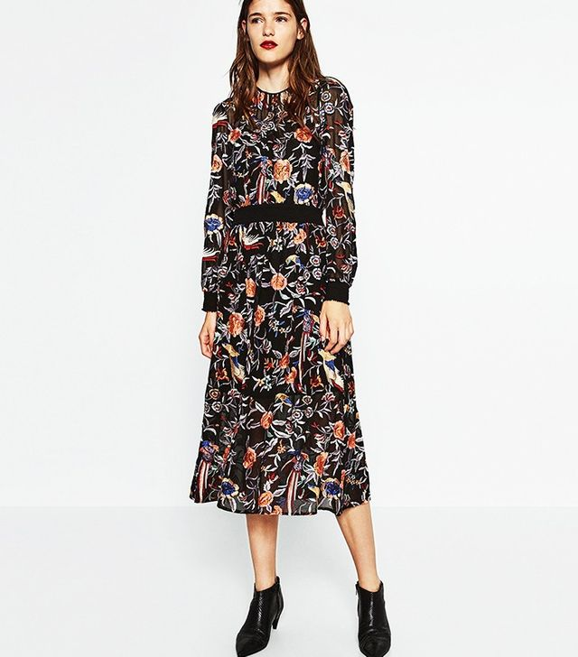Zara Embroidered Midi Dress