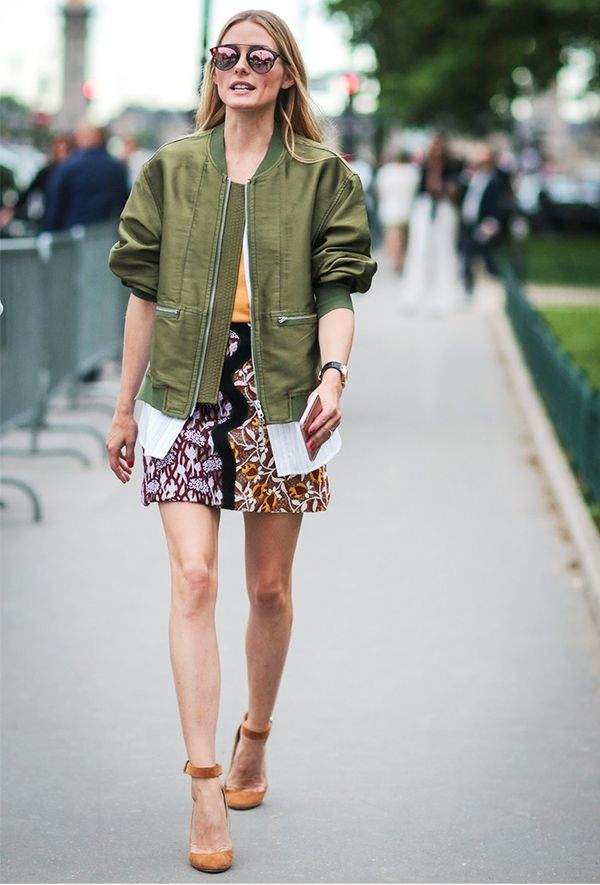 Miniskirt Tip #3: Balance Out Prettiness With a Bomber