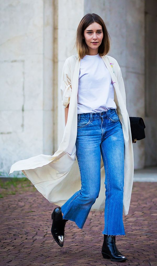 Try it with cropped flare jeans.