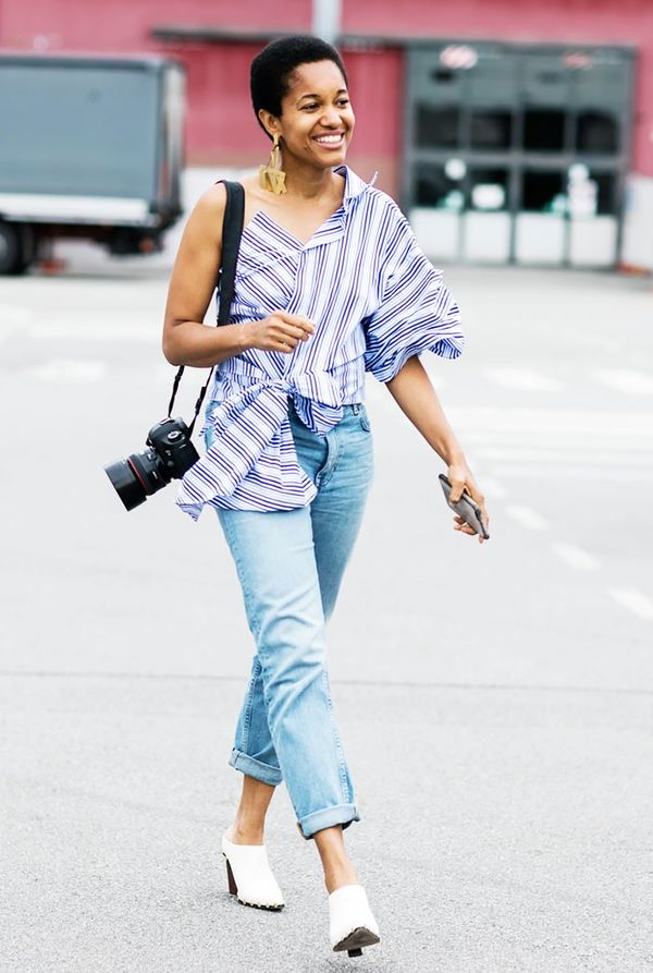 Try pairing your jeans with a one-shoulder top that's light in both fabric and color.