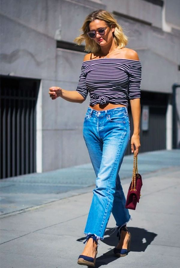 Take your off-the-shoulder top to the next level by tying it, too.