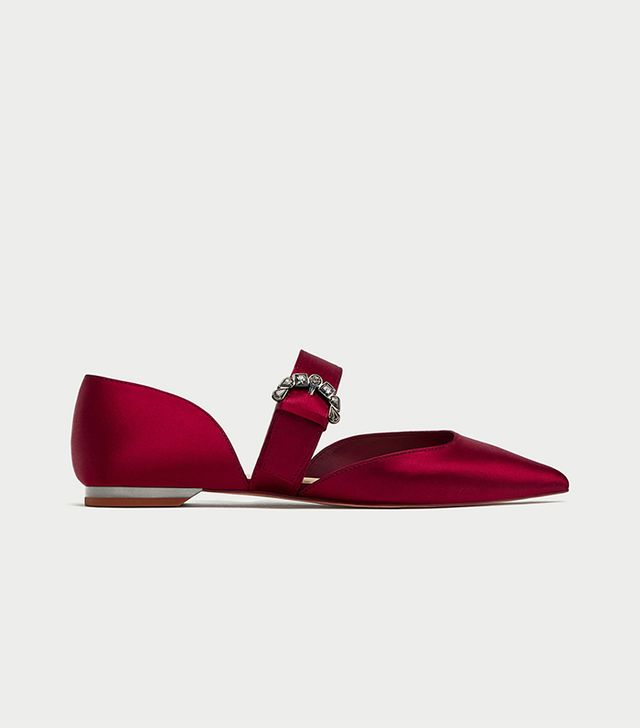 Zara Ballerinas With Gem Buckle