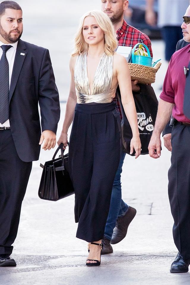 On Kristen Bell: Maria Lucia Hohan Farah Draped Lurex Chiffon Bodysuit ($909) and pants.
