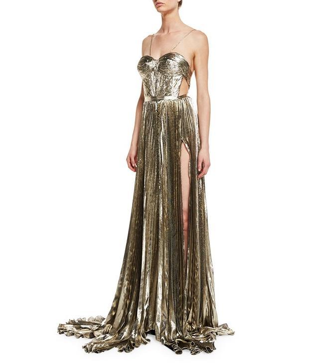 Maria Lucia Hohan Norina Metallic Pleated Chiffon Gown in Gold