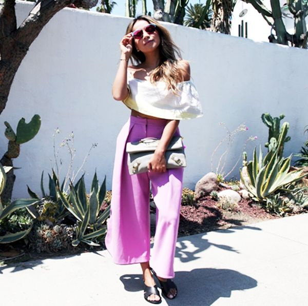 Pair it with bright culottes: