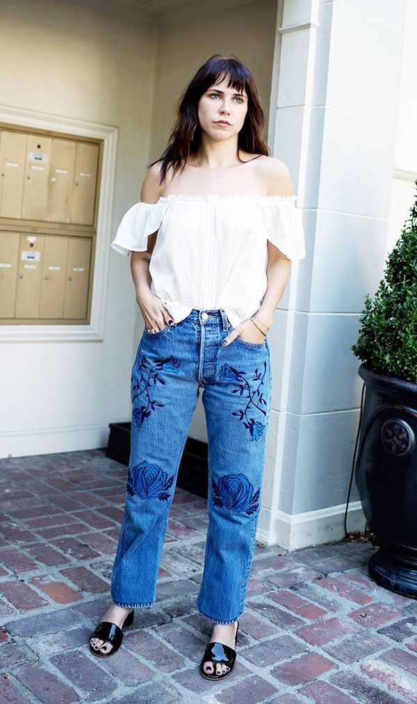 Pair it with embroidered denim:
