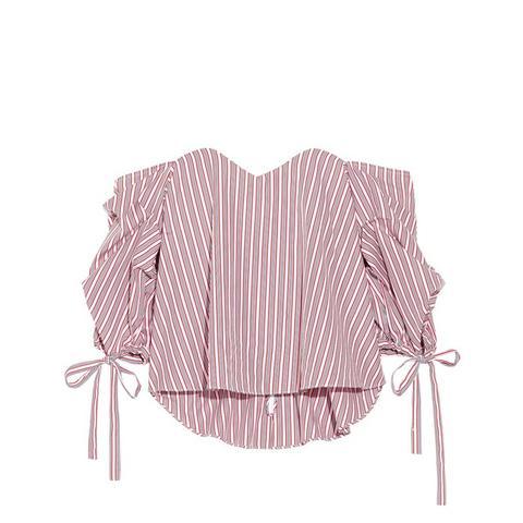 Gabriella Off-the-Shoulder Striped Cotton Bustier Top