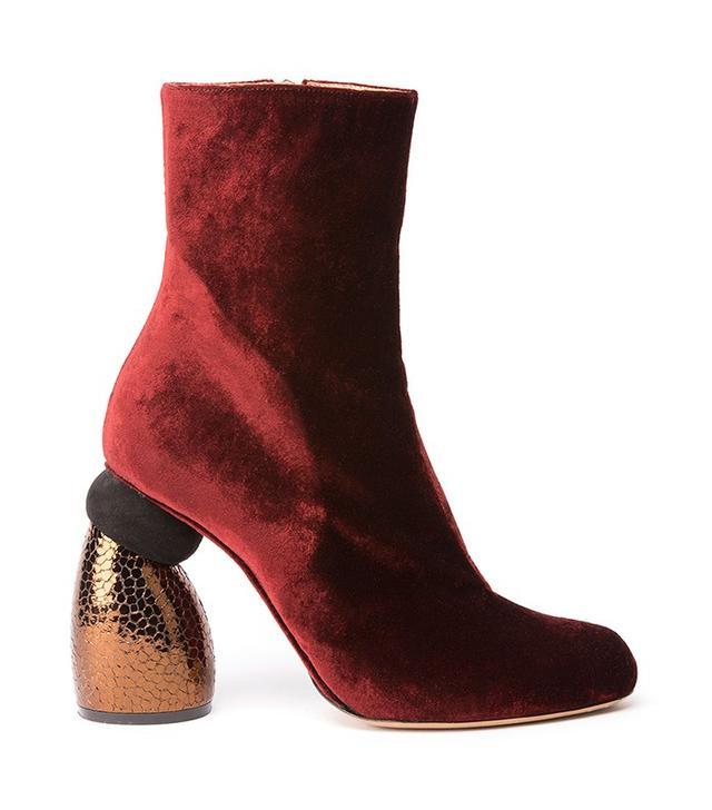 Dries van Noten Velvet Boot With Embossed Heel