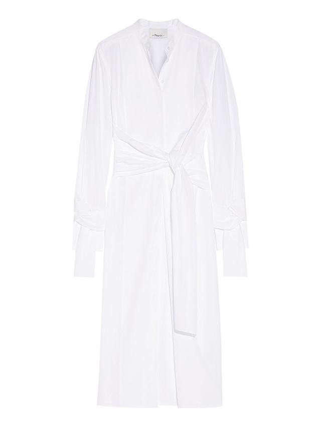 3.1 Phillip Lim Knotted Cotton-Poplin Midi Shirt Dress