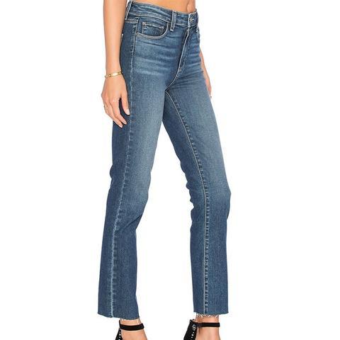 Jacqueline Unfinished Hem Straight Leg Jeans