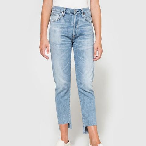 Liya Hi-Lo Hem Jeans in Horizon