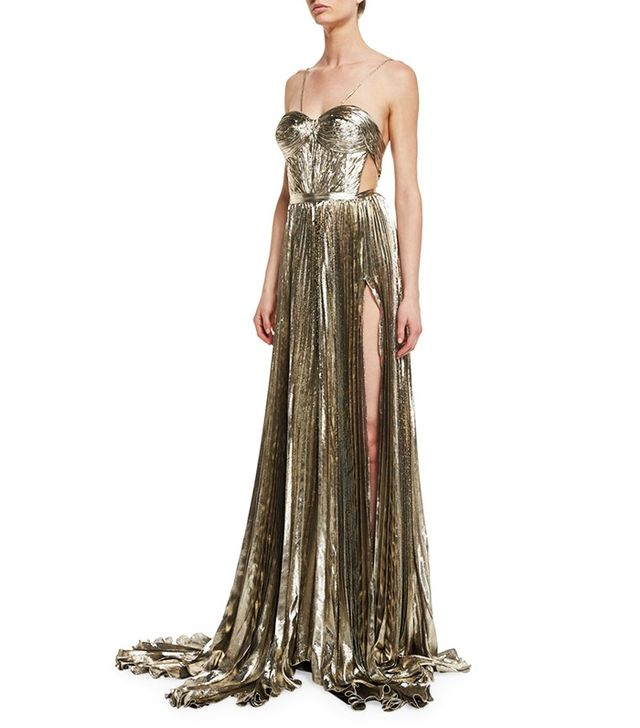 Maria Lucia Hohan Norina Metallic Pleated Chiffon Gown in Gold