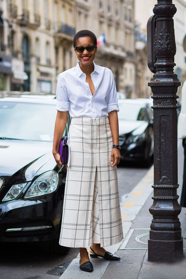 WHO: Tamu McPherson Basics like leather black flats and a white shirt will make tricky pieces like culottes seem way easier to wear on a Monday morning when you can't think.