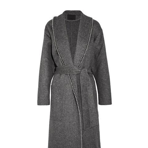 Belted Embellished Felt Coat