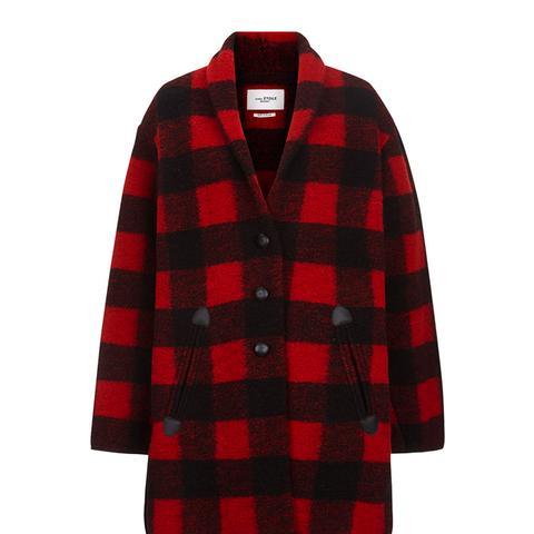 Black & Red Check Gino Blanket Coat