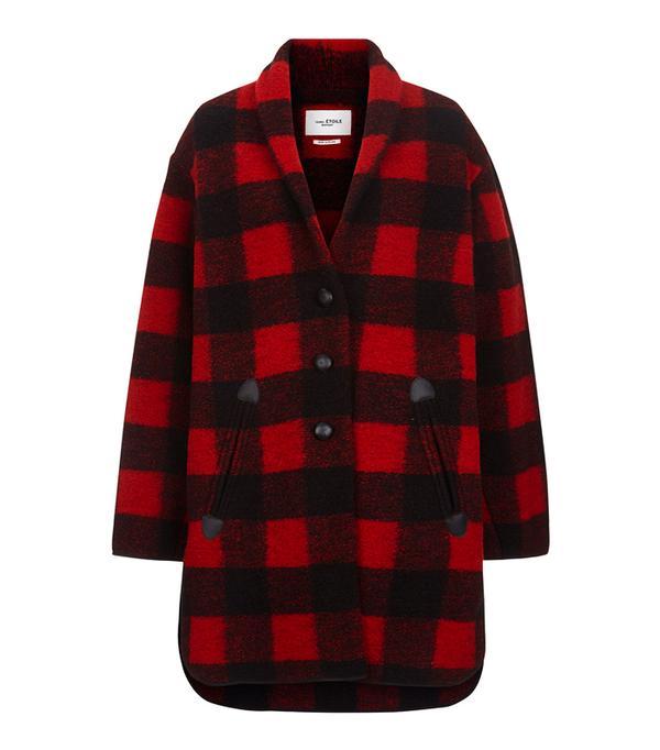 Best Winter Coats: Isabel Marant Étoile Black & Red Check Gino Blanket Coat