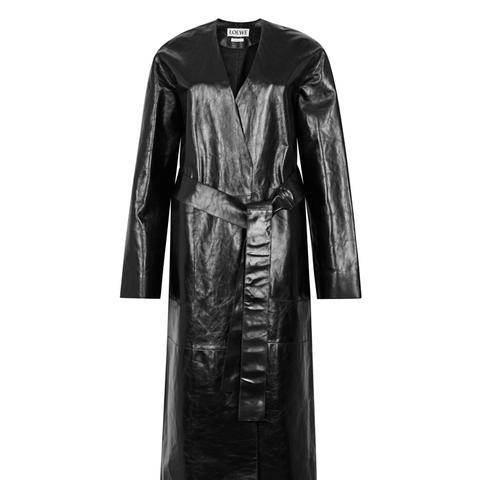Black Nappa Leather Coat