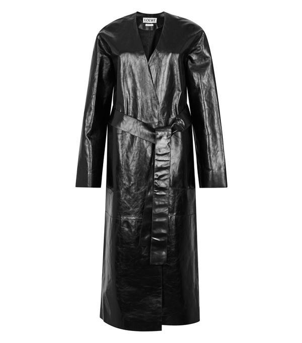 Best Winter Coats: Loewe Black Nappa Leather Coat