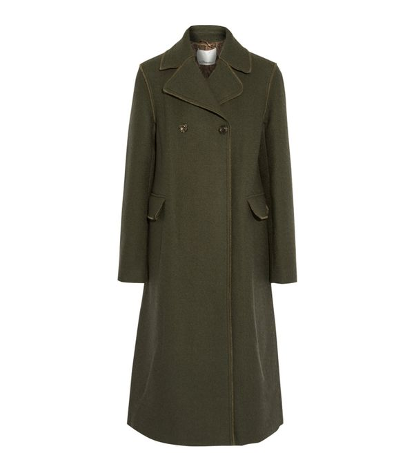 3.1 Phillip Lim Army Green Military Style Wool-Blend Coat