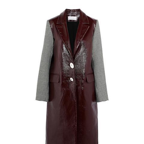 Houndstooth Tweed-Paneled Textured-Vinyl Coat