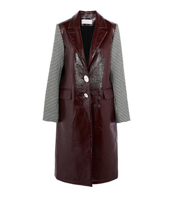 Wanda Nylon Houndstooth Tweed-Paneled Textured-Vinyl Coat