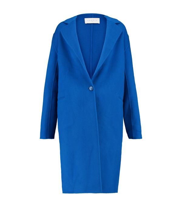Sandro Blue Felted Wool-Blend Coat