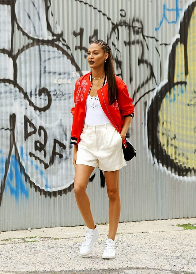 On Joan Smalls: H&M Embroidered Pilot Jacket ($60).