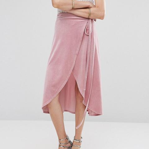 Wrap Midi Skirt in Velvet