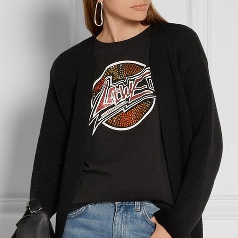Embellished Printed Stretch-Cotton Jersey T-Shirt