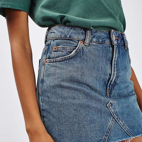 Moto Denim Pelmet Skirt