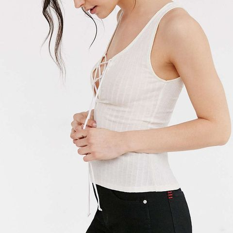 Lace-Up Ribbed Tank Top