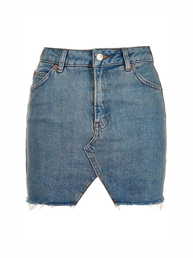 Topshop Moto Denim Cut Out Mini Skirt