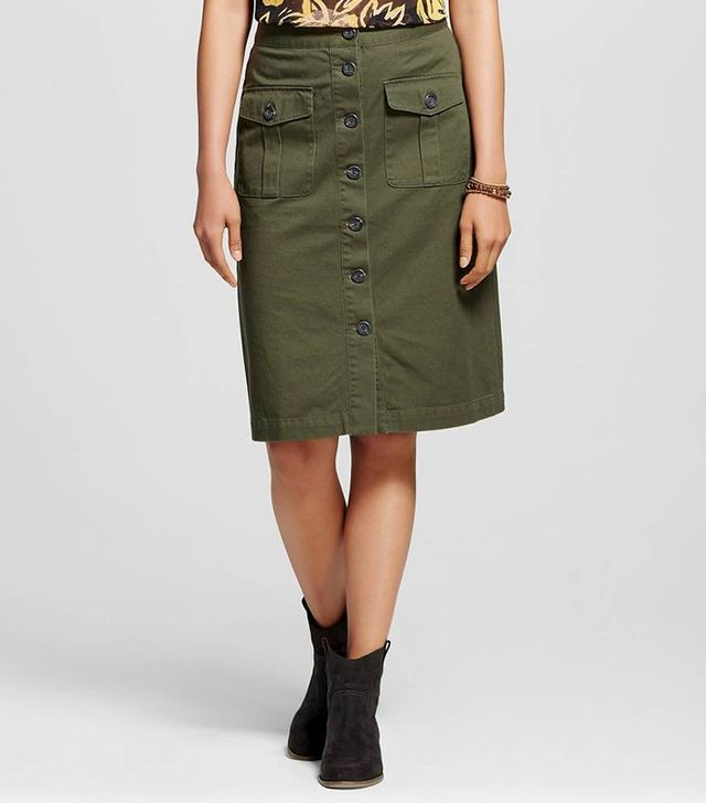Who What Wear Button Front Midi Skirt
