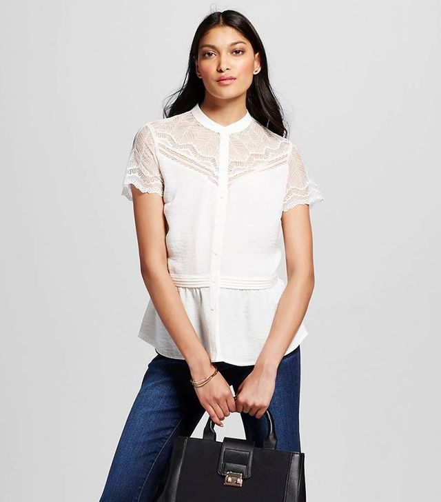 Who What Wear Lace Sleeve Blouse