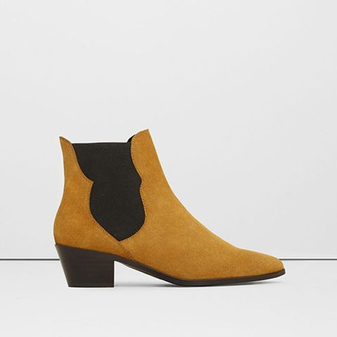 Elastic Panels Leather Ankle Boots