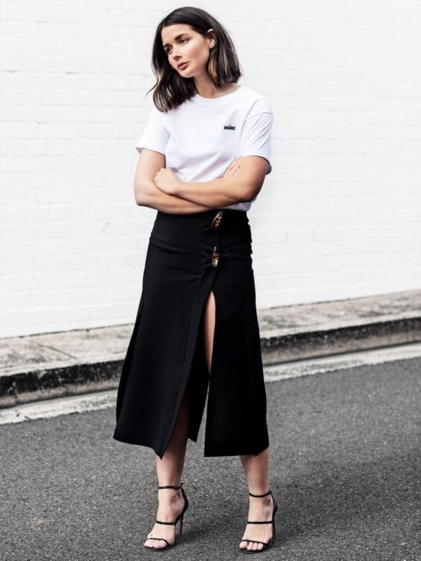 #6: Crew Neck Jersey + Thigh-Slit Skirt + Strappy Sandals