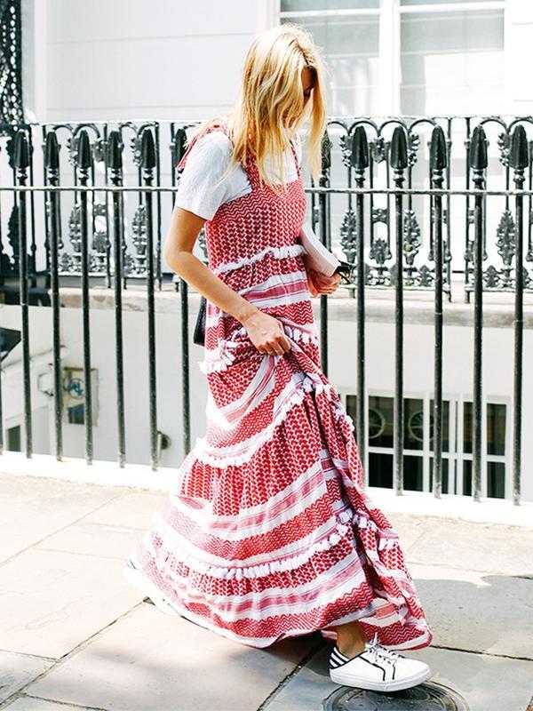 #1: Maxi Dress + White Tee + Sneaks