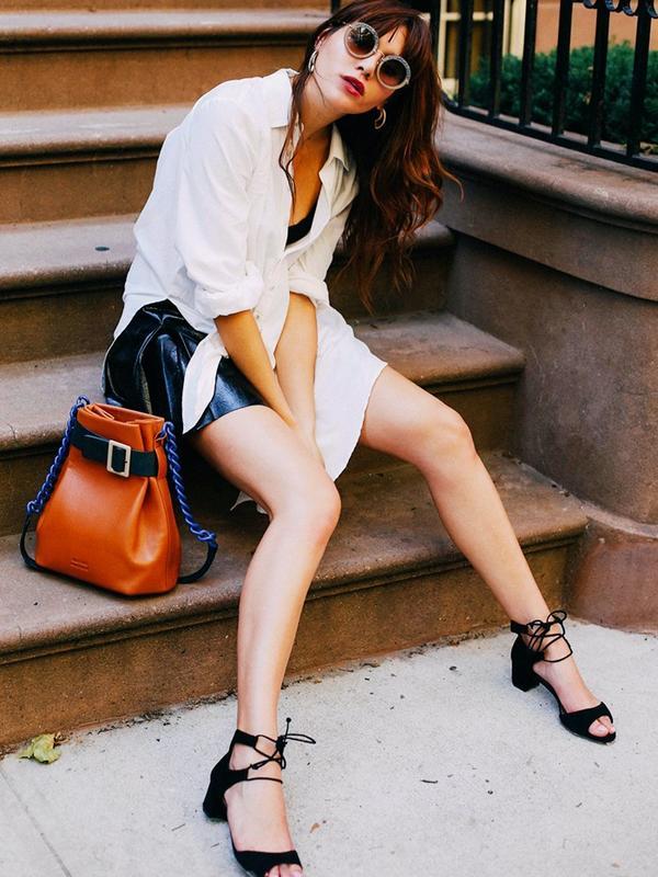 #3: Undone Shirt + Short Skirt + Midi Heels