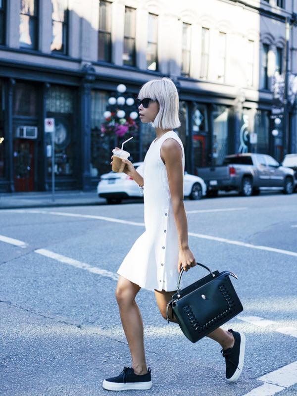 #2: Mini Dress + Tote Bag + Skate Shoes