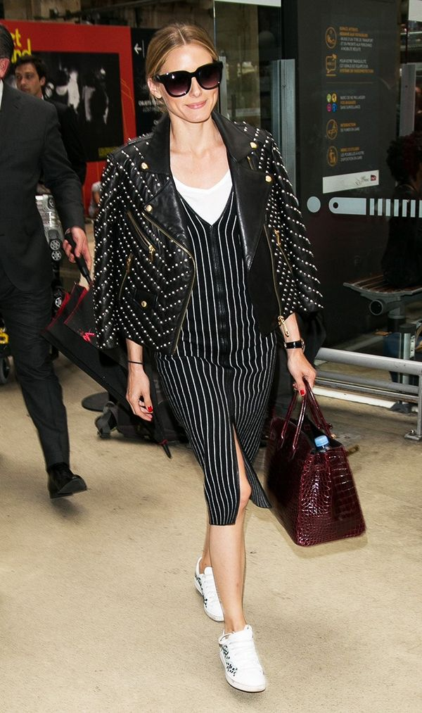 This is our new year-round brunch outfit. On Olivia Palermo: Perverse Dawn Patrol Sunglasses ($45); Hermès bag; Rebecca Minkoff Pearl Embellished Wes Moto Jacket ($1198) ($799); Zara...